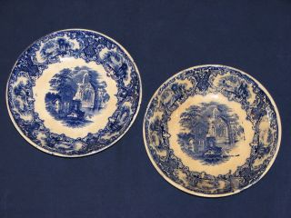 DELFT Maastricht Petrus Regout FLOW BLUE ABBEY Salad bowls set 2 Royal