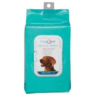 CLEARQUEST MOISTENED DENTAL WIPES DOGS AND CATS SAFELY REMOVE PLAQUE