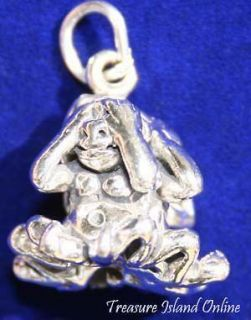 WISE MONKEYS SEE HEAR SPEAK NO EVIL 3D 925 Solid Sterling Silver Charm