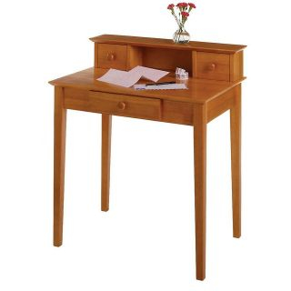 Style Honey Pine Solid Wood Hutch Writing Desk for Small Spaces NEW