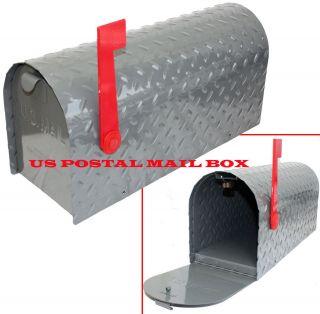 Steel metal Diamond plate Rural US Mailbox Postal Mail Box