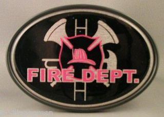 FIRE DEPT TRAILER HITCH COVER Truck RV ATV Tow FD Shield Helmet NEW