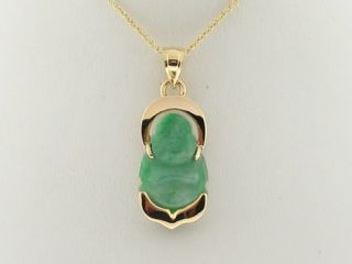 Green Jade Happy Buddha Solid 14k Yellow Gold Pendant 16 Necklace
