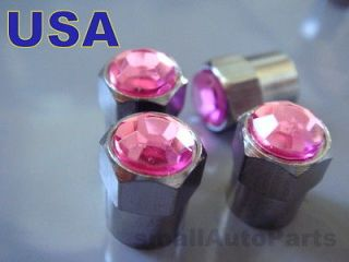 Crystal*PINK*C​hrome*Diamond Tire/Wheel air stem valve CAPS Covers