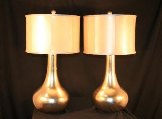Hollywood Regency Style Bulbous Form Gold Silver Leaf Designer Lamps