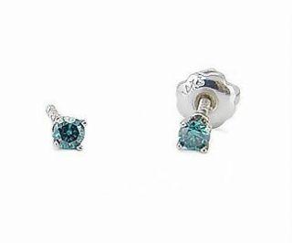 100% 14K White Gold Blue Diamond Stud Earrings for Babies or Kids