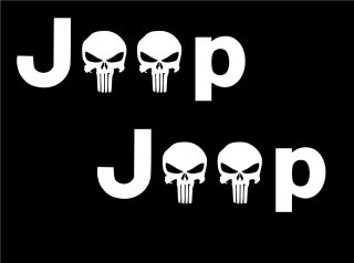TWO 8 JEEP PUNISHER LOGOS STICKER/DECAL WRANGLER 4X4 FREE
