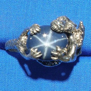 Dragon Ring, Natural Blue Star Sapphire, Hand Crafted Sterling Silver