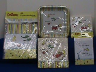 ONE TWO FISH DR SEUSS BABY SHOWER PARTY INVITES PLATES BANNER NAPKINS