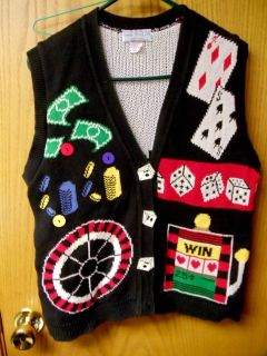 CASINO THEME SWEATER VEST WOMEN M DICE POKER CHIPS SLOT MACHINE