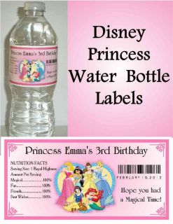 20 DISNEY PRINCESS BIRTHDAY PARTY FAVORS ~ WATER BOTTLE LABELS