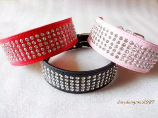 Rhinestone Dog Collars 5 Rows crystal diamond Jeweled Leather Pet Dog