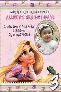 Disney Princess TANGLED Birthday Party Photo Custom Invitation U Print