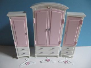 Section piece Barbie Pink White Armoire Clothing Closet w/Hangers Lot
