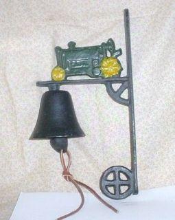 Cast Iron Green Tractor Door/Yard Bell