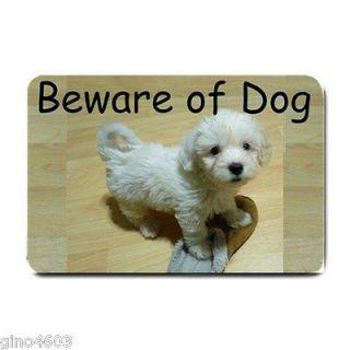 Beware of Dog Front Door Mat Terrier Doormat Welcome Maltese Maltipoo