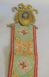Antique Victorian Needlepoint Door Bell Pull w/ Gilt Bronze Medallion