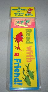 10 DR SEUSS Cat In The Hat ONE FISH TWO FISH Party Favors BOOKMARKS