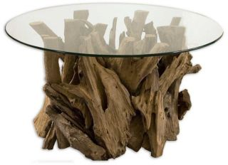 Teak Driftwood Wood Glass Top Coffee Cocktail Table