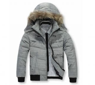 New Mens Winter Padded Jacket Cotton down Puffer Parka Faux Fur Hoodie