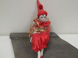 Large Vintage Porcelain Ceramic Clown Jester Collectible Doll
