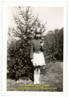 1940s Photo Young Girl Drum Majorette Uniform Baton Skirt Boots