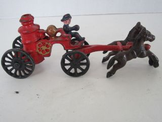 Vintage Cast Iron Horse Drawn Pumper Wagon With Fireman Driver