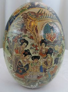 ANTIQUE CHINESE HAND PAINTED SATSUMA PORCELAIN EGG WITH ORIGINAL