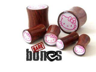 Ear Gauges 2g Blood Wood Organic Body Jewelry Hello Kitty Plugs Gauges