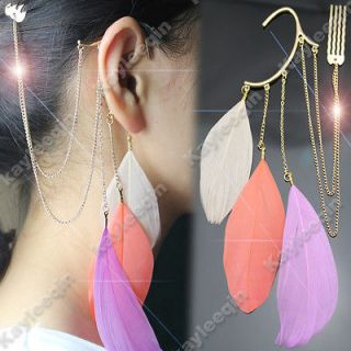 Pink Feather Gold Ear Cuff Chain Hair Cuff Pin Comb Tassels Earrings