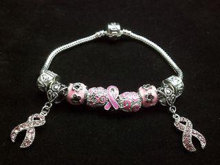 Cancer Awareness Charm Bracelet 18 Carat White Gold Charms V 3 BCA