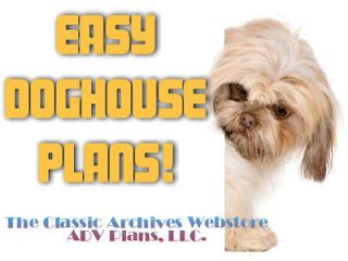 INSULATED DOG HOUSE PLANS, COMPLETE SET, LARGE DOG, WITH PATIO