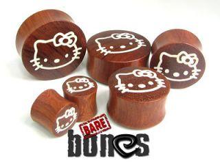 Ear Gauges 5/8 Blood Wood Organic Body Jewelry Hello Kitty Plugs