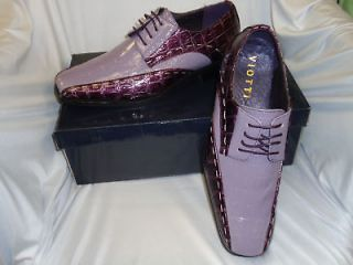 Mens Eggplant Purple & Lavender Croc  Dress Shoes
