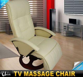 Luxurious Cream White PU Vibration Office Massage Chair Recliner