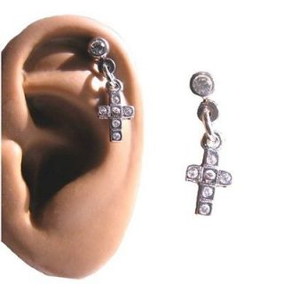Steel Ear Cartilage Piercing Earring Ring Cross CZ 18 Gauge 18G