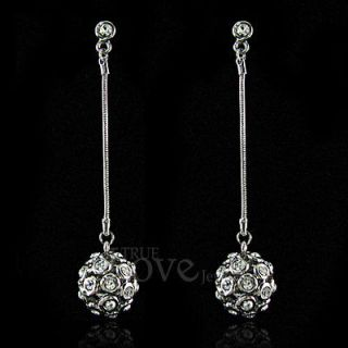 18K WGP Elegant Dangle Ball Earring Use Swarovski Crystal EP1623 Free