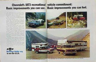 1973 Chevy Pickup Truck Blazer Camper ORIGINAL Old Ad CMY STORE 5