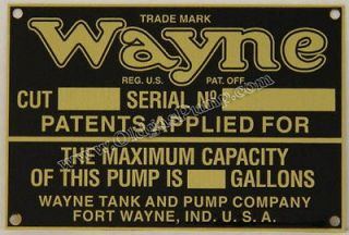Wayne Visible Gas Pump ID Tag Fits Models 515   615 Part # ID 114