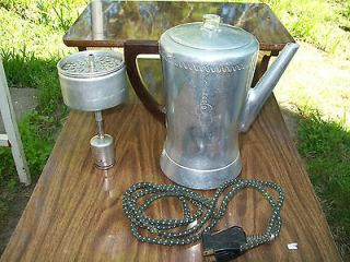 Vintage West Bend Aluminum Flavo Matic Electric Percolator Coffee Pot