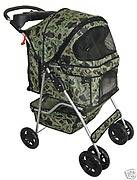 Camouflage 4 Wheels Pet Dog Cat Stroller w/RainCover