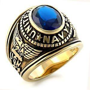 NAVY 7CT OVAL CREATED BLUE SAPPHIRE YELLOW GOLD PLATED GENT RING SIZE9