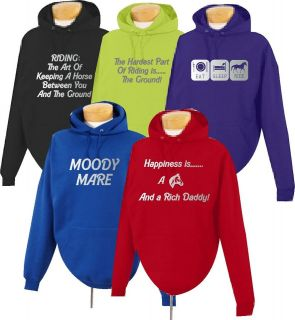 CHILDRENS HORSE RIDING CLOTHES FUNNY SLOGAN HOODIES