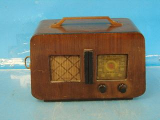 Antique Tube Radio Deco Brown Wood Case Table Top Shelf Parts Repair
