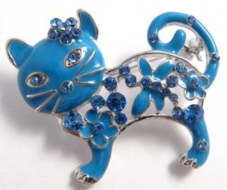 Blue Enamel Cute Kitty Cat Brooch Broach Badge Pin Mothers Day Gift