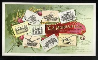 INSET IMAGES OF HORSE DRAWN FARM MACHINERY   MFG BY D.S. MORGAN & CO