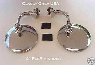Convex & 1 Std NEW PAIR 4 PEEP mirrors SS Chevy Ford Hot Rod 1936