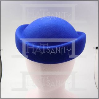 Vintage Stewardess Air Hostesses 100% Wool Felt Flat Pillbox Hat MULTI