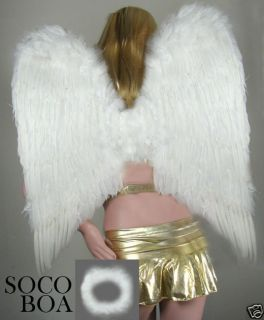 EXTRA LARGE White Feather Angel Wings Photo Props HALO Halloween