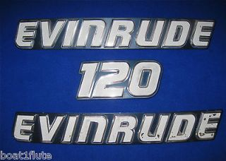 PIECE SET EVINRUDE 120 HP OUTBOARD MOTOR METAL EMBLEMS BADGES